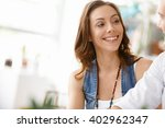 start up team of two young... | Shutterstock . vector #402962347