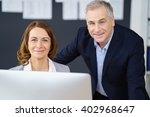 smiling happy business partners ... | Shutterstock . vector #402968647