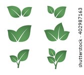 set of green leaves. element... | Shutterstock . vector #402987163