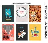 collection of cute cards for... | Shutterstock .eps vector #402995437