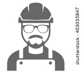 builder in hard hat and glasses ...   Shutterstock .eps vector #403035847