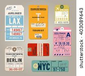 vintage luggage tags  | Shutterstock .eps vector #403089643