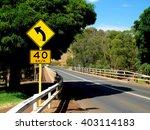 yellow left curve ahead sign... | Shutterstock . vector #403114183