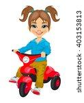 cute little girl riding a...   Shutterstock .eps vector #403153813