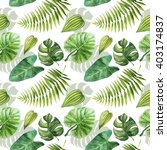 tropical leaves seamless... | Shutterstock . vector #403174837