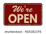 we're open on red vintage rusty ... | Shutterstock .eps vector #403182193