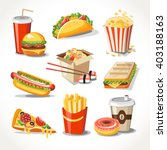 fast food realistic set  | Shutterstock .eps vector #403188163