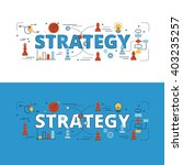 strategy lettering flat line... | Shutterstock .eps vector #403235257