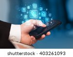 hand holding smartphone with... | Shutterstock . vector #403261093