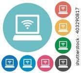 flat wireless laptop icon set...