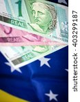 different rasil bank notes on a ... | Shutterstock . vector #403299187