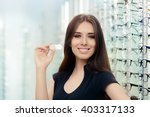 woman with contact lenses case...   Shutterstock . vector #403317133