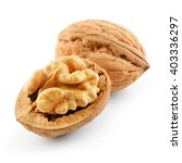 Small photo of Walnut and walnut kernel isolated on the white background. With clipping path.