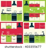 set of modern kitchen interiors.... | Shutterstock .eps vector #403355677