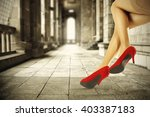 brown retro interior and red... | Shutterstock . vector #403387183