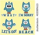 set of four blue owls with...