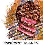 steak rib eye grille fire... | Shutterstock . vector #403437823