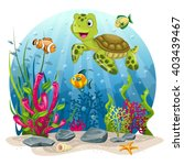 turtle and fish in the sea | Shutterstock .eps vector #403439467