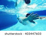 Man Dives Into The Pool...