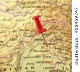 Small photo of Map of Pakistan with pin set on Islamabad.