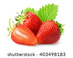 ripe strawberries with leaves... | Shutterstock . vector #403498183
