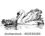swan on lake  lotus flowers... | Shutterstock .eps vector #403530283