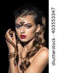 beautiful young woman posing... | Shutterstock . vector #403553347