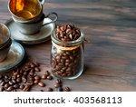 Coffee Beans In A Crystal Jar...