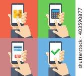 hands with smartphones 4... | Shutterstock .eps vector #403590877