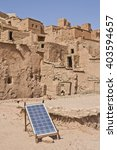 Small photo of Ait Benhaddou solar panel placed over adobe roof