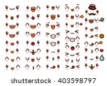 Stock vector  collection of cute lovely kawaii emoticon emoji doodle cartoon face smile happy wink 403598797
