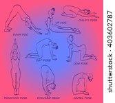 yoga pose set vector... | Shutterstock .eps vector #403602787