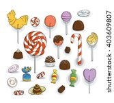 set of candy icons. glaze ... | Shutterstock .eps vector #403609807