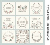 vector set  floral wreath and... | Shutterstock .eps vector #403619113