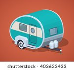 turquoise retro camper against... | Shutterstock .eps vector #403623433