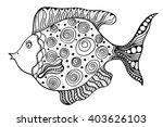 hand drawn art fish with floral ... | Shutterstock . vector #403626103