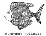 hand drawn art fish with floral ... | Shutterstock . vector #403626193