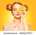 beauty model girl takes juicy... | Shutterstock . vector #403627927