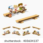 rough wooden bench. 3d lowpoly... | Shutterstock .eps vector #403634137
