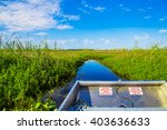 Small photo of Airboat in Florida going through the lake looking for alligators
