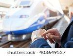 passenger using smart watch at... | Shutterstock . vector #403649527