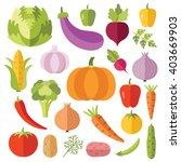 vegetables flat icons set....   Shutterstock .eps vector #403669903