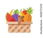 wicker basket full of fruits.... | Shutterstock .eps vector #403672153