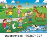 child and pet cartoon. eps10...   Shutterstock .eps vector #403674727