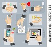 business hands flat icons set.... | Shutterstock .eps vector #403734853