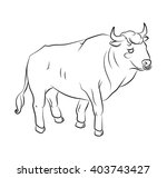 black and white bull image... | Shutterstock .eps vector #403743427