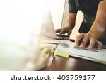 business documents on office... | Shutterstock . vector #403759177