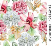 seamless pattern with flowers. ... | Shutterstock . vector #403812463