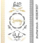set of boho style frames and... | Shutterstock .eps vector #403839307