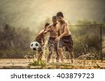 Boy Kicking A Soccer Ball ...